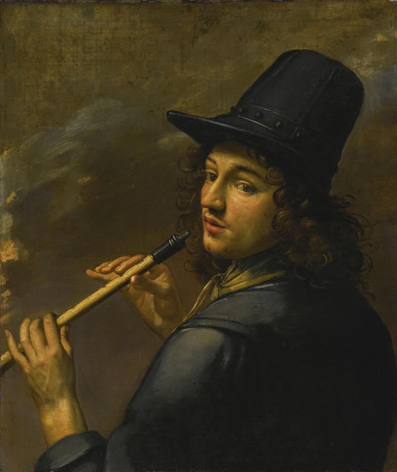 Young Man Playing a Recorder (Anonymous; French School, 17th Century)
