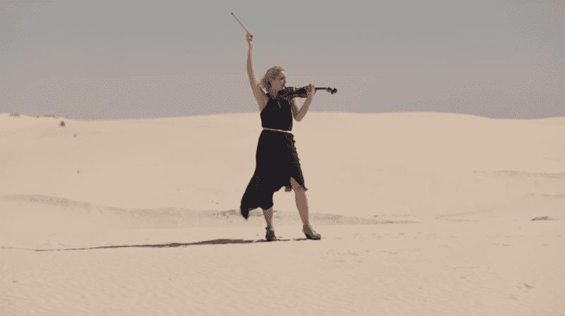 Margarita Krein playing Ysaÿe in the desert sands of the southwest US