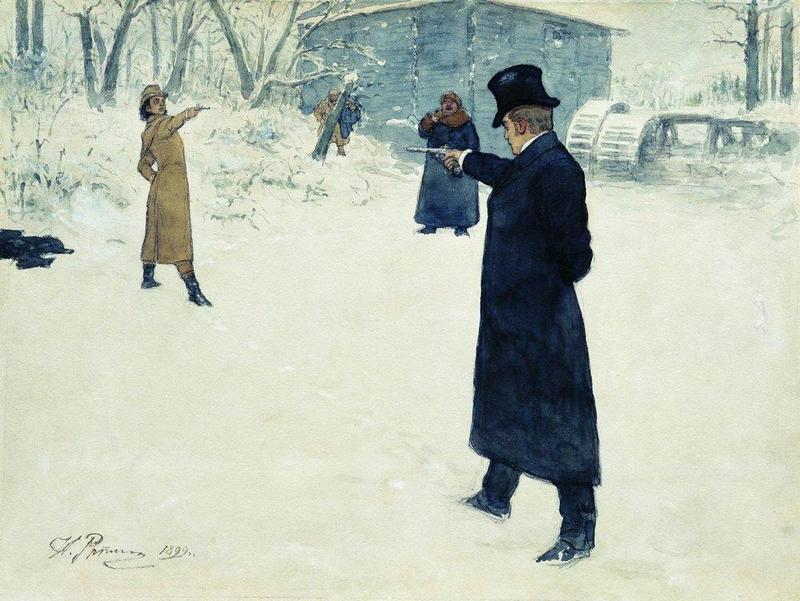 """Eugene Onegin and Vladimir Lensky's duel"" by Ilya Repin (1899)"