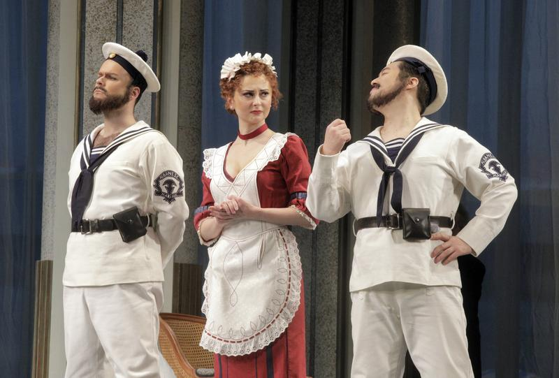 Joshua Hopkins as Guglielmo, Elena Tsallagova as Despina and Andrew Stenson as Ferrando in Mozart's Così fan tutte.