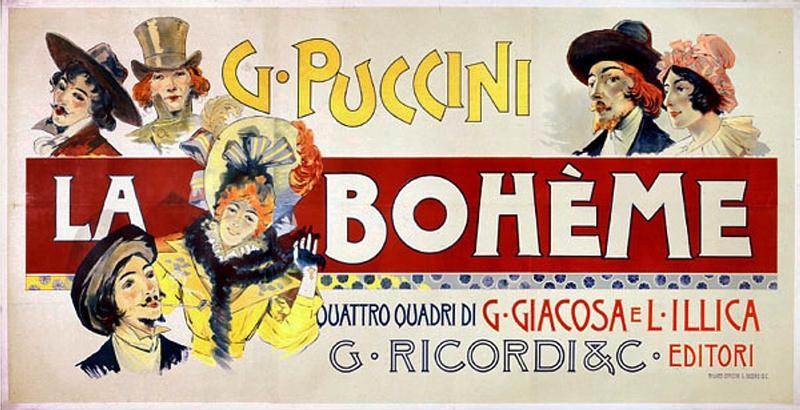 Adolfo Hohenstein's 1895 poster for Puccini's 'La Bohème'