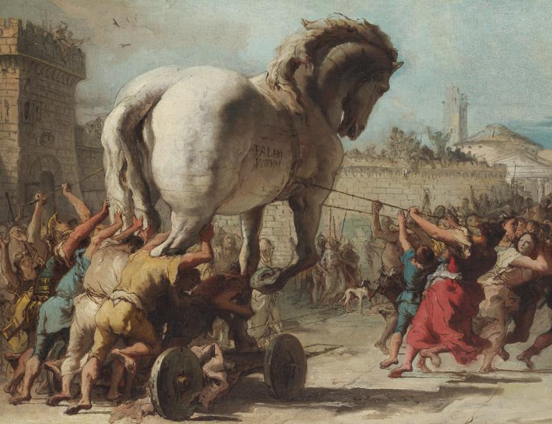 'The Procession of the Trojan Horse in Troy' by  Domenico Tiepolo