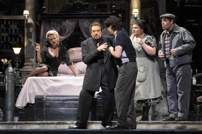 Plácido Domingo (center) in the title role of Puccini's 'Gianni Schicchi.'