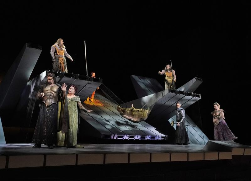 (Left to Right) Greer Grimsley as Wotan, Jamie Barton as Fricka, Günther Groissböck (above) as Fasolt, Norbert Ernst (partially hidden) as Loge, Dmitry Belosselskiy (above) as Fafner, Michael Todd Si