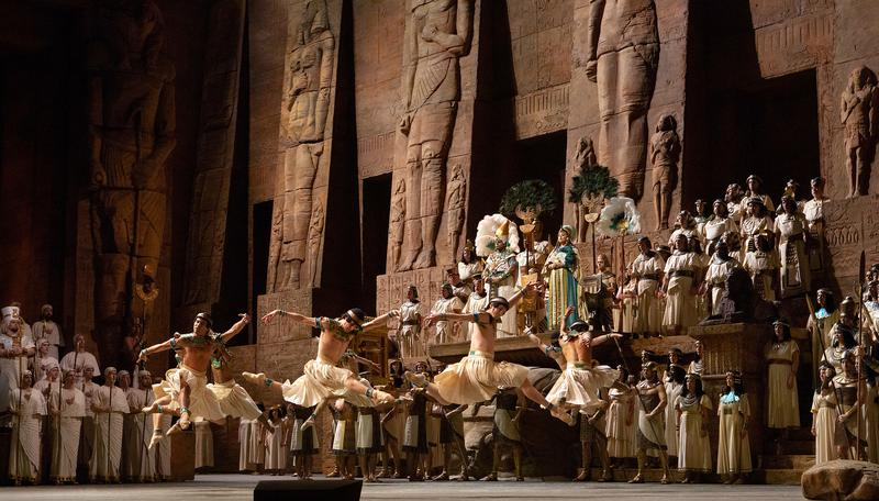"A scene from Act 2 of Verdi's ""Aida."""