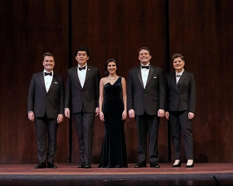 2019 Metropolitan Opera National Council Auditions Winners: (l-r) Miles Mykkanen, William Guambo Su, Elena Villalón, Thomas Glass, and Michaela Wolz.