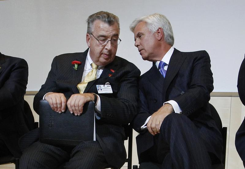 George Norcross (r) and John Sheridan in 2012. Two years later, they clashed over a lucrative land deal on the Camden waterfront.