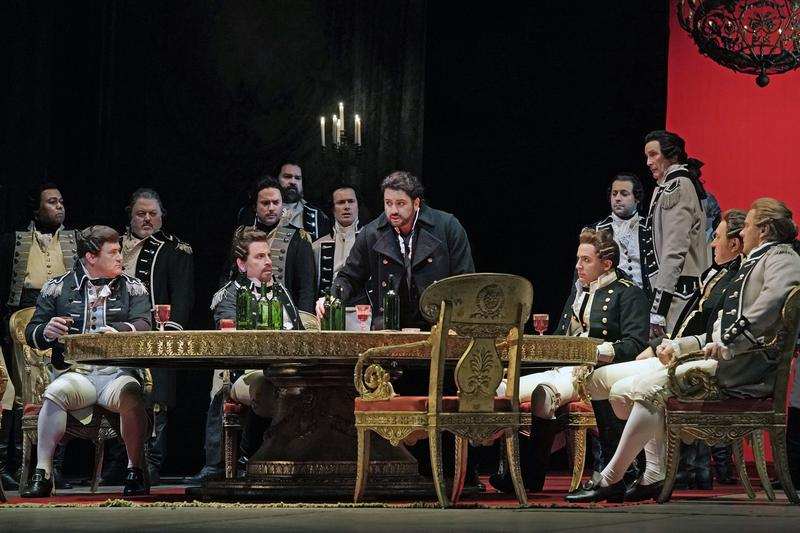 "Yusif Eyvazov as Hermann (standing, in black coat) in Tchaikovsky's ""The Queen of Spades."""