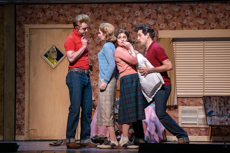 "Gerald Finley (in window) as Don Alfonso, Ben Bliss as Ferrando, Nicole Car as Fiordiligi, Serena Malfi as Dorabella, and Luca Pisaroni as Guglielmo in Mozart's ""Così fan tutte."""