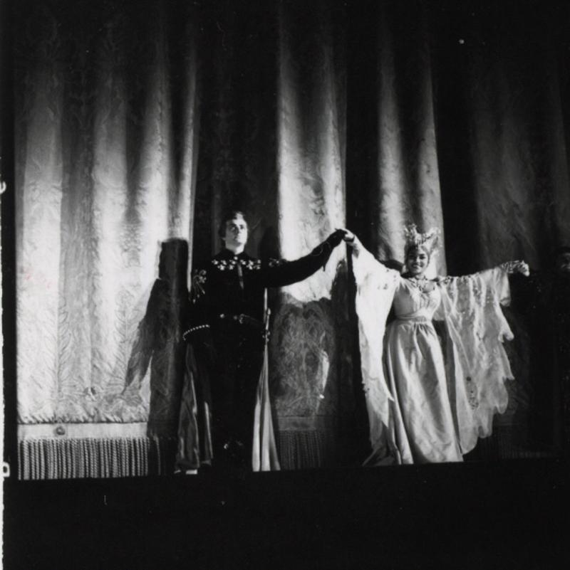 "Franco Corelli (Manrico) and Leontyne Price (Leonora) take a curtain call following their Met debuts in Verdi's ""Il Trovatore"" on January 27, 1961."