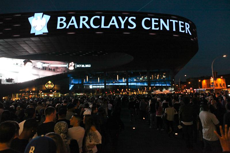 Lines stretch down the block on opening night of the Barclays Center.