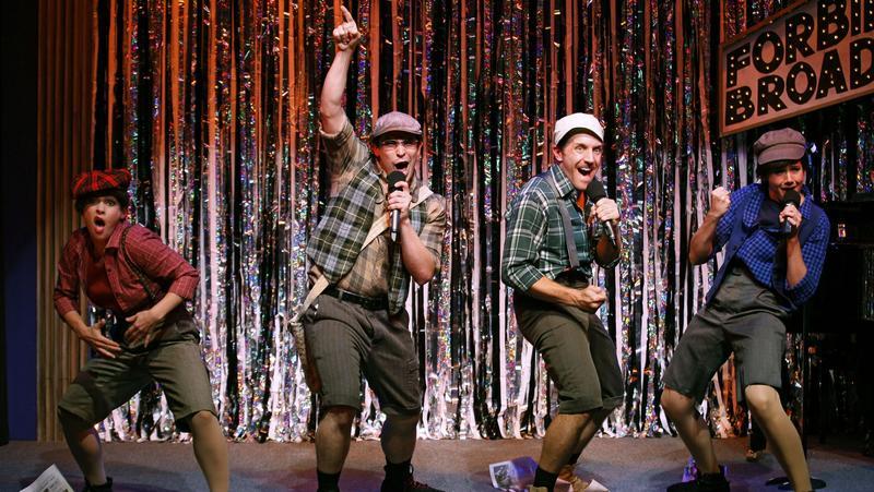 Jenny Lee Stern (left to right), Marcus Stevens, Scott Richard Foster and Natalie Charlé Ellis in <em>Forbidden Broadway: Alive & Kicking</em>.