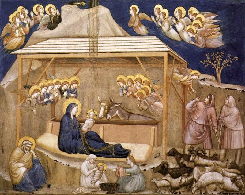 The Nativity fresco; Giotto, Ambrogio Bondone c.1266-1337; San Francesco, Lower Church, Assisi, Italy