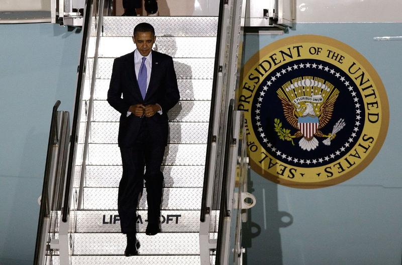 U.S. President Barack Obama arrives at the Seoul Airport for the 2010 G20 Summit on November 10, 2010 in Seoul, South Korea.