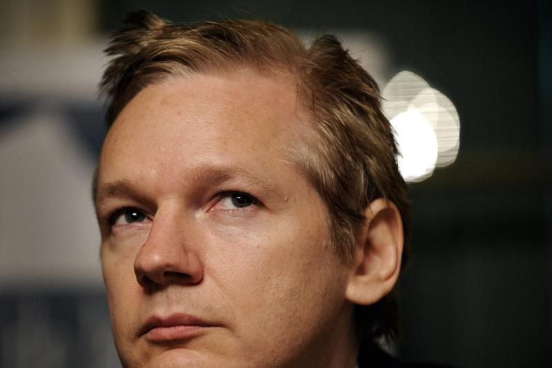 Wikileaks founder Julian Assange looks on during a press conference at the Geneva Press Club in 2010.