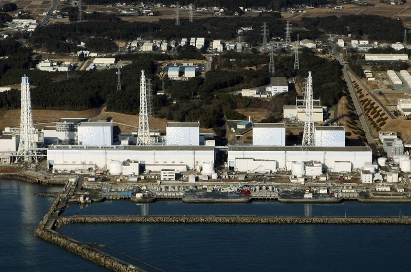An aerial view shows the quake-damaged Fukushima nuclear power plant in the Japanese town of Futaba, Fukushima prefecture on March 12, 2011.