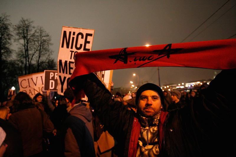 A protester stands in Bolotnaya Square in Moscow, Russia.
