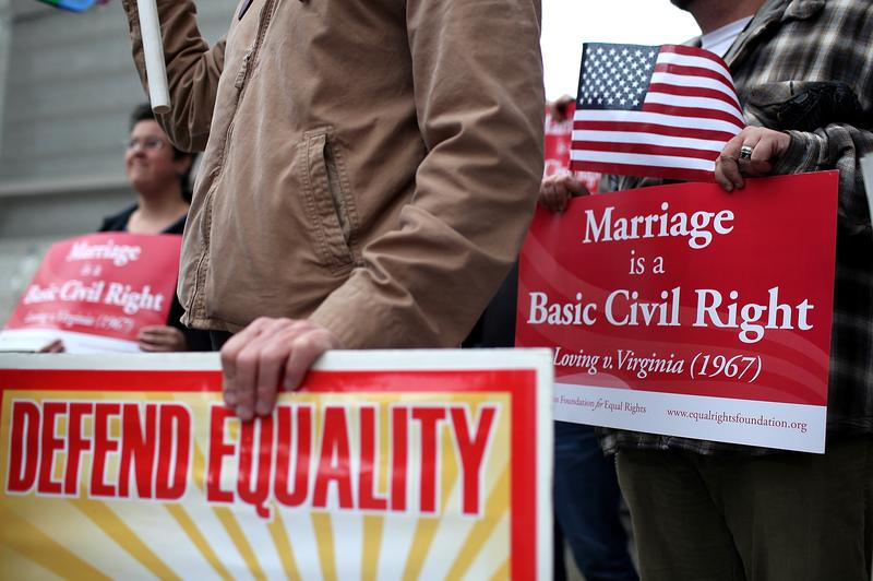Opponents of Proposition 8, California's anti-gay marriage bill, hold signs  outside of the Ninth U.S. Circuit Court of Appeals on February 7, ...