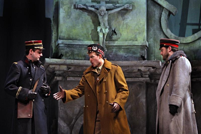 Liam Bonner as Lieutenant Audebert, Gabriel Preisser as Lieutenant Gordon and Craig Irvin as Lieutenant Horstmayer in the Minnesota Opera production of Silent Night
