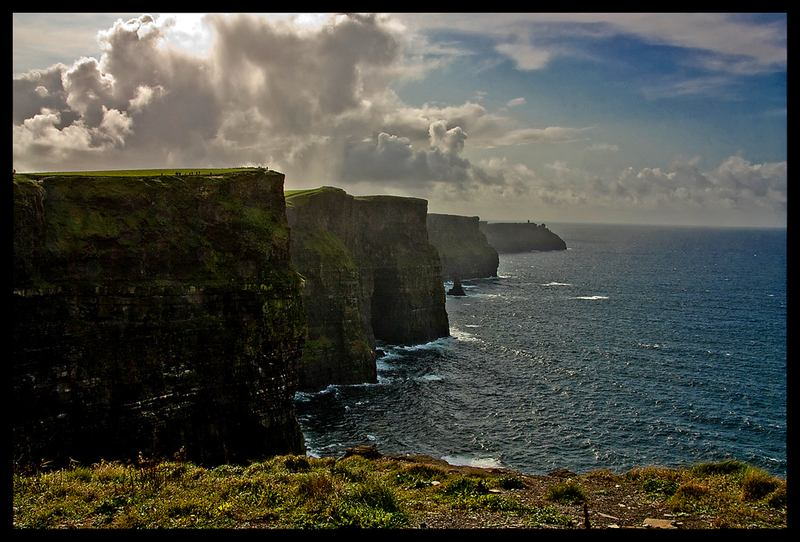 The Cliffs of Moher (Co. Clare, West Ireland) rise up to 700 feet above the Atlantic Ocean.