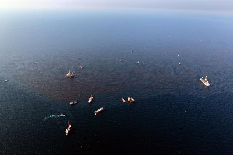 Boats surround the leaking oil from the site where the Deepwater Horizon oil platform sank as work continues to contain the leak on May 9, 2010 in the Gulf of Mexico.