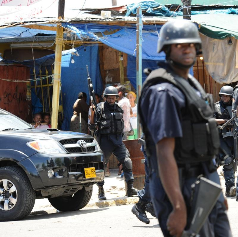 Police patrol on May 24, 2010 in Kingston, Jamaica.