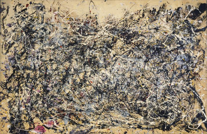 Pollock's 'Number 1A, 1948.' Raw canvas peaks out from choreographed swirls of paint. Many of his works from this era also contain three-dimensional objects such as sand, keys and even thumb tacks.