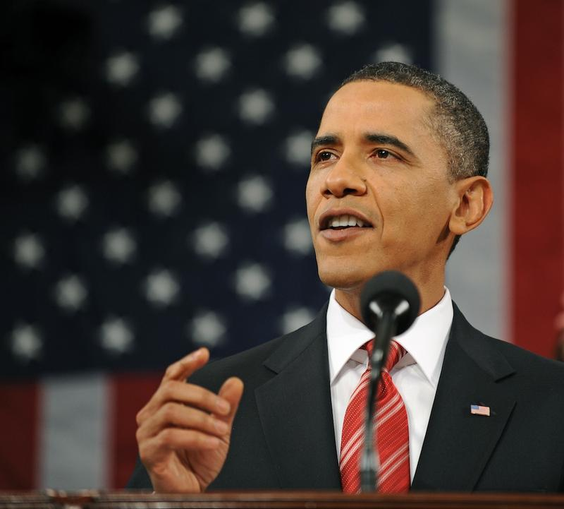 U.S. President Barack Obama delivers his first State of the Union speech to a joint session of the U.S. Congress on Capitol Hill January 27, 2010, in Washington, DC.