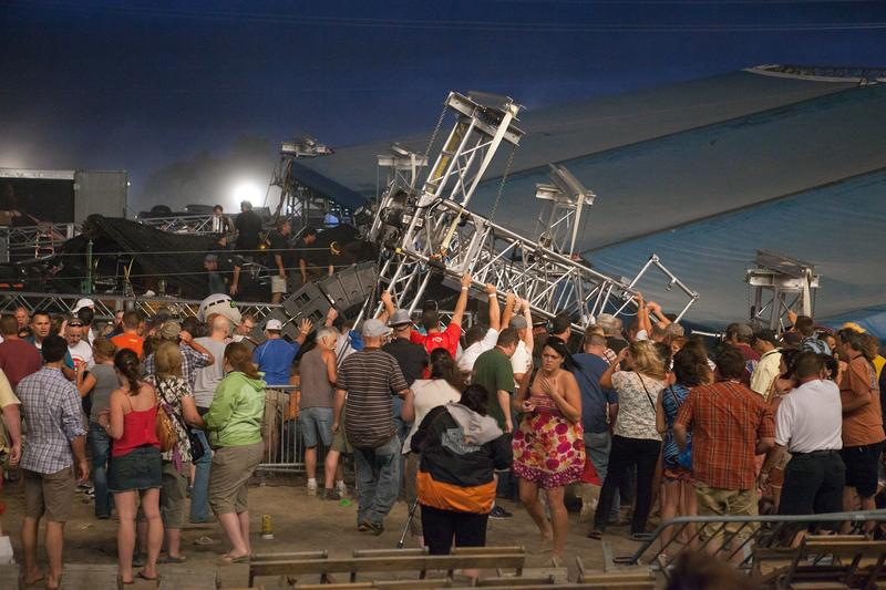 View of the stage collapse at the Indiana State Fair on August 13, 2011. The stage fell just before country duo Sugarland were scheduled to perform, killing seven.