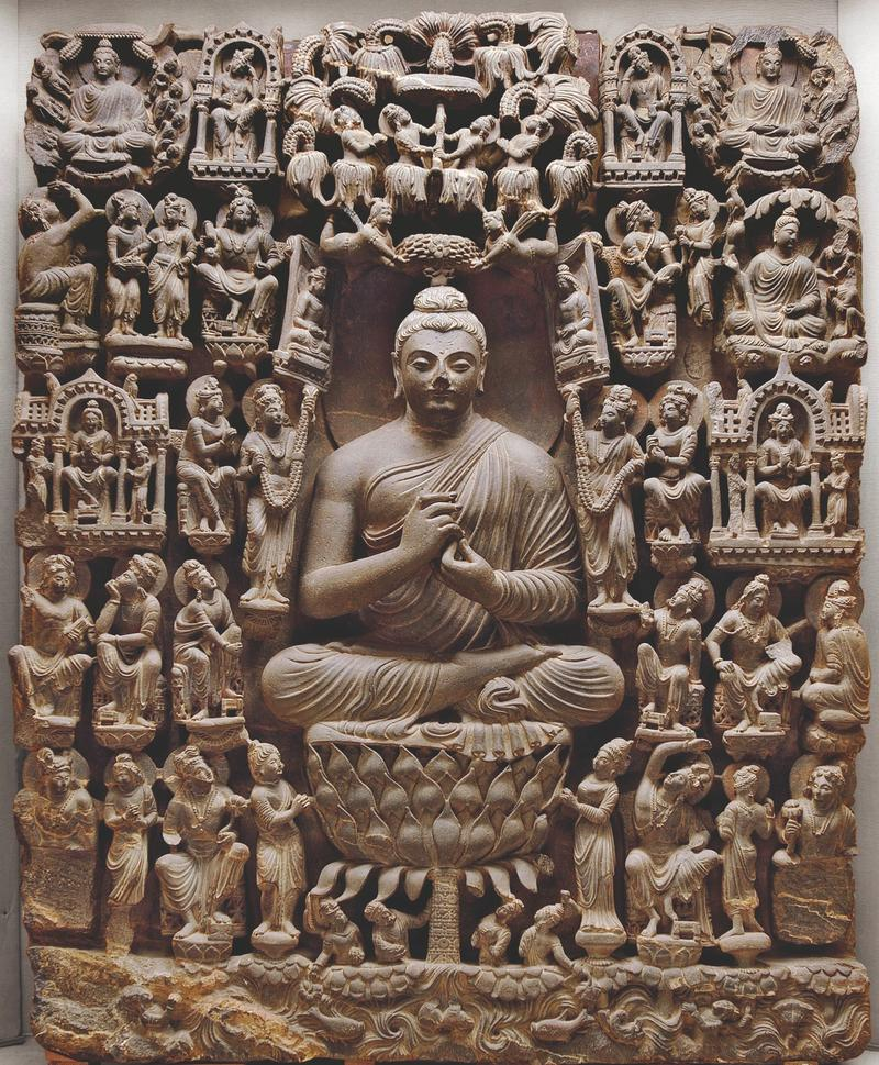 Vision of a Buddha Paradise. Pakistan. 4th century CE. Light gray schist.