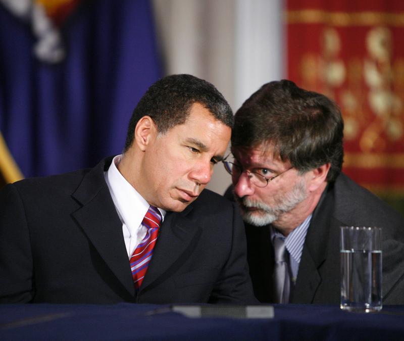 David Paterson and his budget director, Robert Megna.