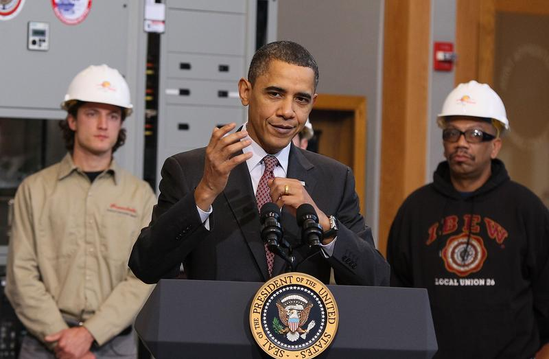 U.S. President Barack Obama speaks about creating new energy jobs during a visit to the jobs training center at the International Brotherhood of Electrical Workers Local 26 headquarters on February 16