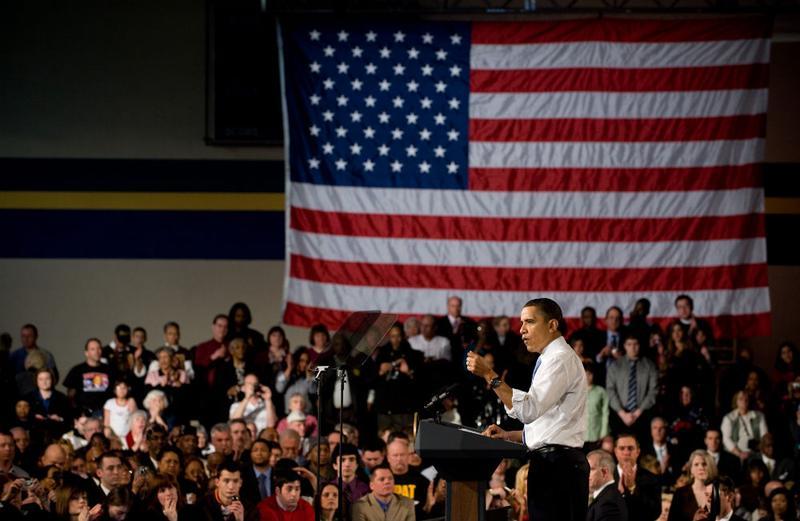 US President Barack Obama speaks on healthcare insurance reform at the Walter F. Ehrnelt Recreation and Senior Center in Strongsville, Ohio.