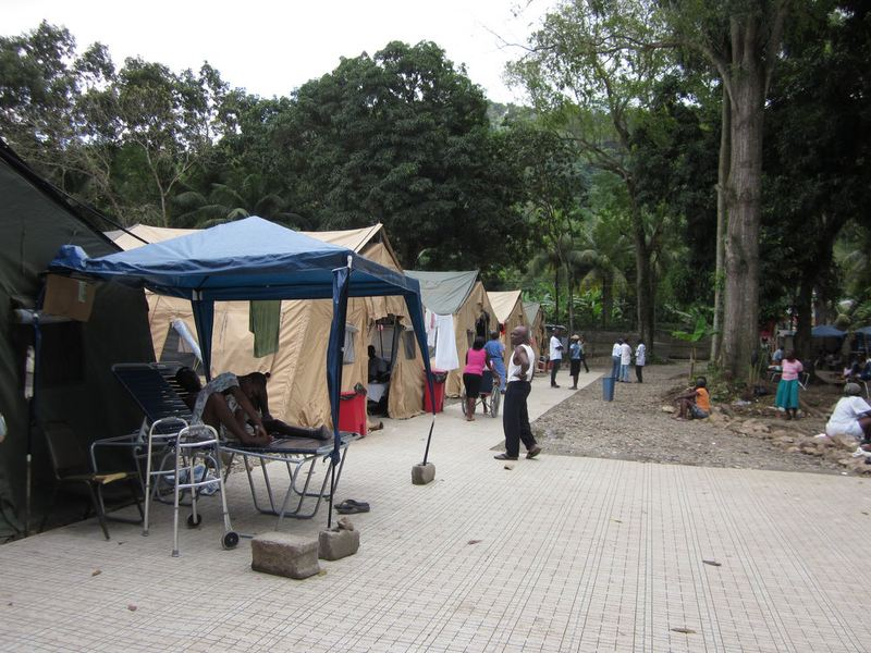 A row of tents that house earthquake survivors in Milot, Haiti