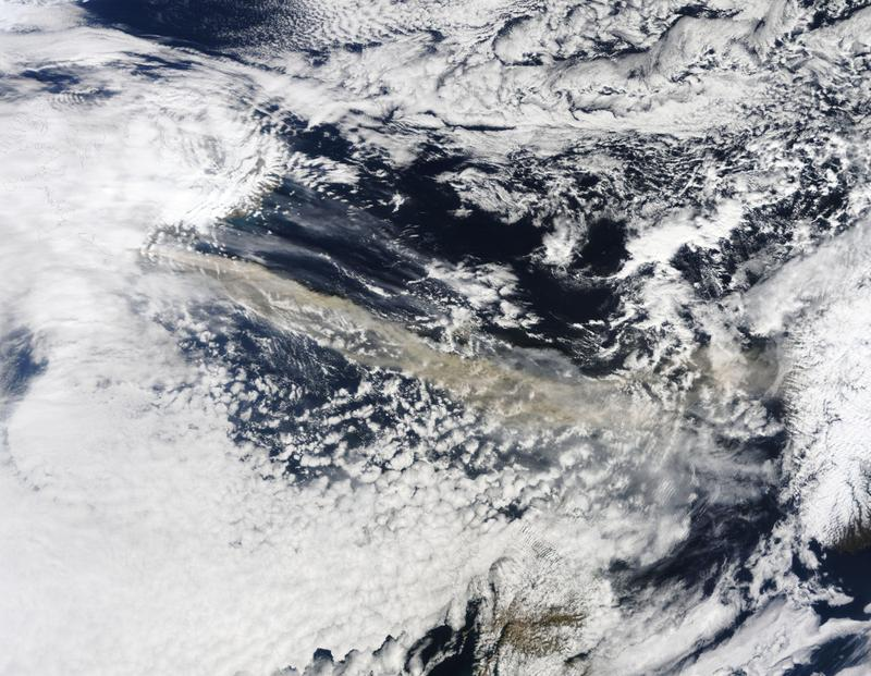 In this handout image provided by NASA, The MODIS instrument on NASA's Terra satellite captured an Ash plume from Eyjafjallajokull Volcano over the North Atlantic