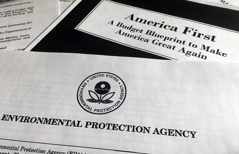A portion of President Donald Trump's first proposed budget, focusing on the Environmental Protection Agency, and released by the Office of Management and Budget.
