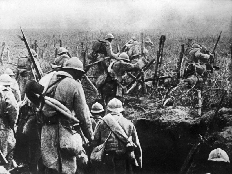 A picture taken in the year 1916 shows French soldiers moving into attack from their trench during the Verdun battle, eastern France, during the first World War.