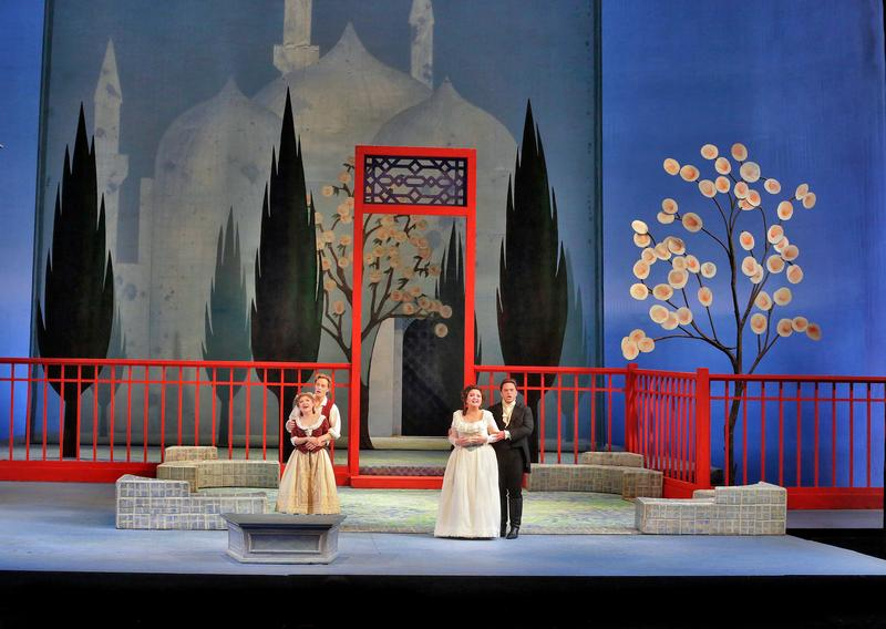 Kathleen Kim as Blondchen, Brenton Ryan as Pedrillo, Albina Shagimuratova as Konstanze and Paul Appleby as Belmonte in Mozart's 'Die Entführung aus dem Serail.'