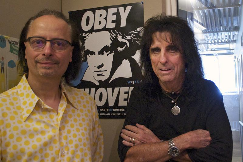Alice Cooper and host Paul Cavalconte pose in the WQXR studio.
