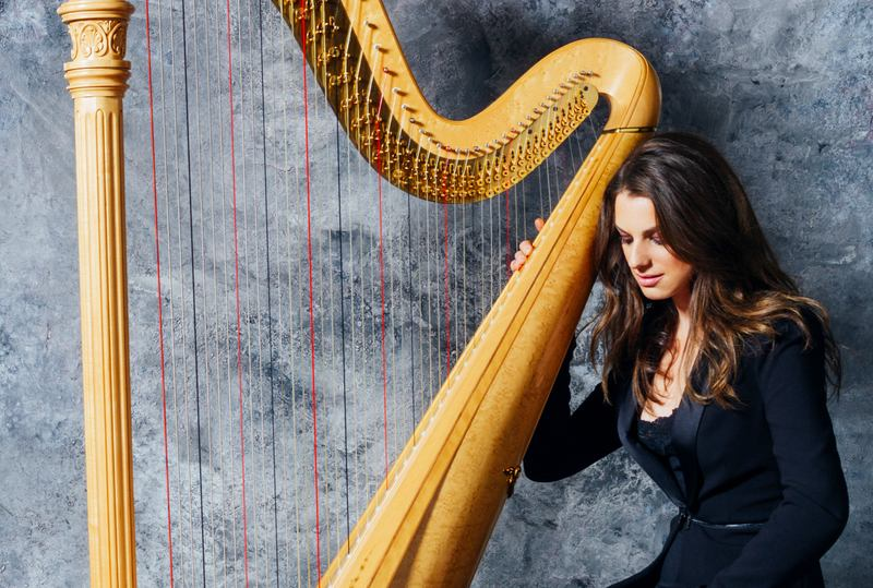 Harpist Bridget Kibbey is an alumna of Young Artists Showcase.