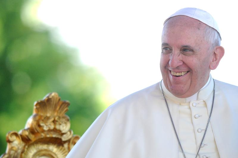 Pope Francis attends a meeting with young people at the Sanctuary of Castelpetroso on July 5, 2014 in Castelpedroso, Campobasso, Italy.