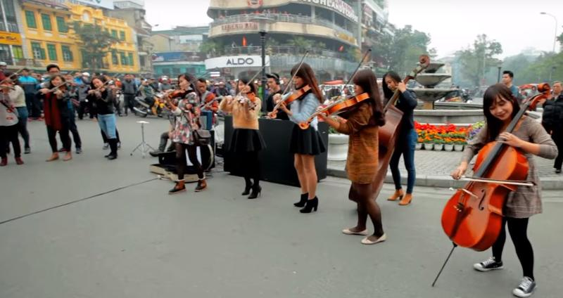 The Rhapsody Philharmonic stages a pop-up performance in Hanoi.