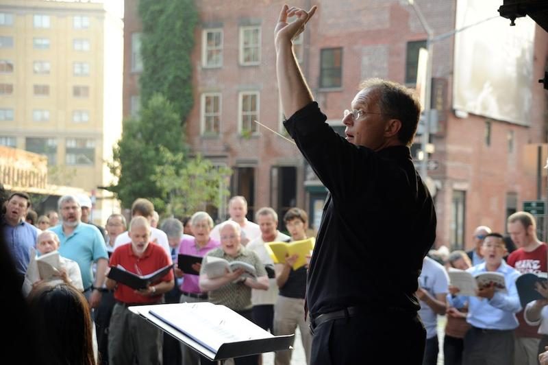 Kent Tritle conducts a sing-in during 2011's Make Music New York.