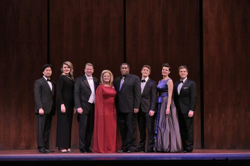 The winners of the Met's National Council Auditions pose with Deborah Voigt and Eric Owens.
