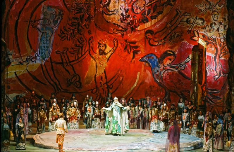 A scene from Mozart's 'Die Zauberflote' performed during the first season of the new Met.