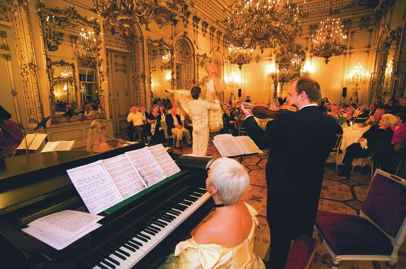 """Imperial Evening"" at Palais Pallavicini  in Vienna, where guests enjoy a champagne/cocktail reception, dinner and  performances of opera, dance and classical music."