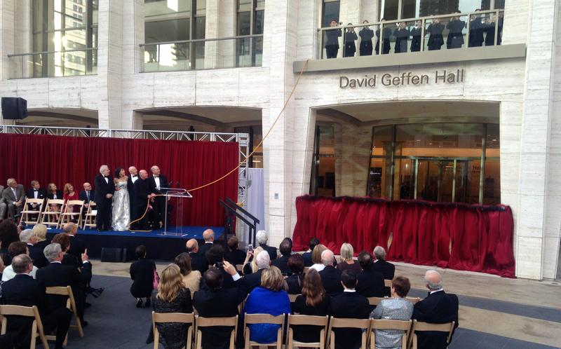 The unveiling of the signage of David Geffen Hall at Lincoln Center