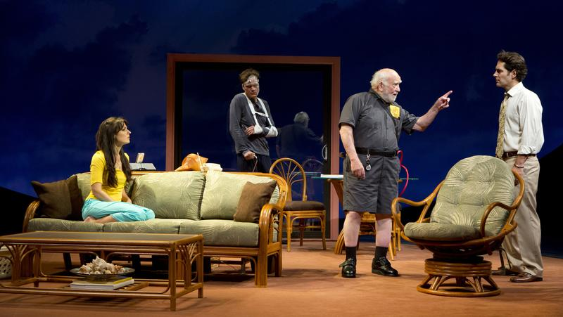 Kate Arrington (left to right), Michael Shannon, Ed Asner and Paul Rudd in <em>Grace</em> at the Cort Theatre.