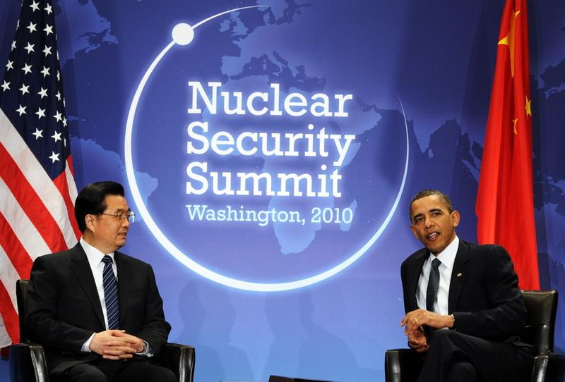 President Obama holds a bilateral meeting with his Chinese counterpart Hu Jintao at the Washington Convention Center as a part of the Nuclear Security Summit in Washington, DC, on April 12, 2010