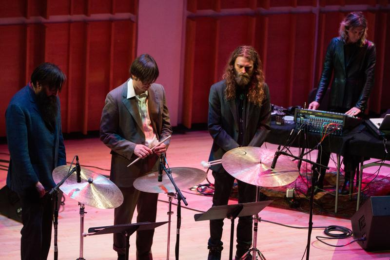 From left: Ryan Sawyer, Kid Millions, Greg Fox and William Basinsky at Merkin Concert Hall March 29, 2014